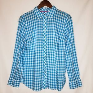 Talbots Perfect Shirt Blue Gingham Medium